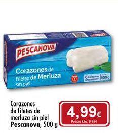 Oferta de Corazones de filetes de merluza sin piel Pescanova por 4,99€