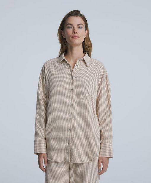 Oferta de Camisa manga larga 100% algodón pata de gallo por 22,99€