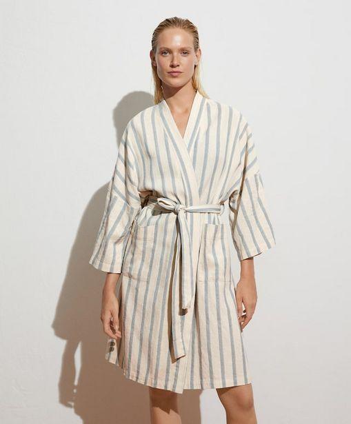 Oferta de Albornoz lino rayas por 45,99€