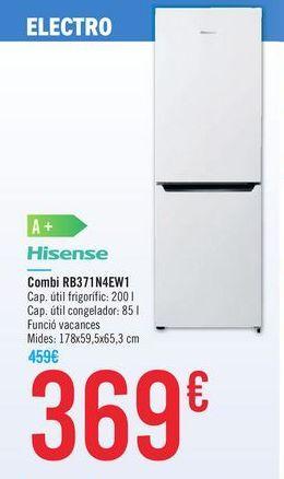 Oferta de Combi RB371N4EW1 Hisense por 369€