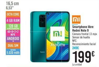 Oferta de Smartphone libre Redmi Note 9 por 199€