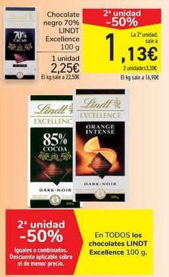 Oferta de Chocolate negro 70% LINDT Excellence por 2,25€