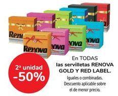 Oferta de En TODAS las servilletas RENOVA GOLD Y RED LABEL, iguales o combinados  por