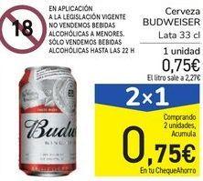 Oferta de Cerveza BUDWEISER por 0,75€