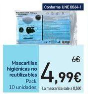 Oferta de Mascarillas higiénicas no reutilizables por 4,99€