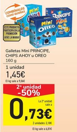 Oferta de Galletas Mini PRINCIPE, CHIPS AHOY u OREO por 1,45€