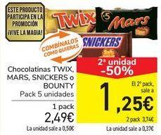 Oferta de Chocolatinas TWIX, MARS, SNICKERS o BOUNTY  por 2,49€