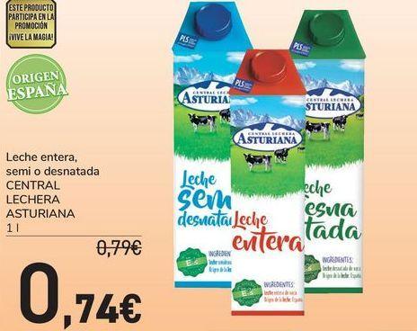 Oferta de Leche entera, semi o desnatada CENTRAL LECHERA ASTURIANA  por 0,74€