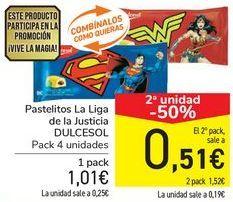 Oferta de Pastelitos La Liga de la Justicia DULCESOL por 1,01€