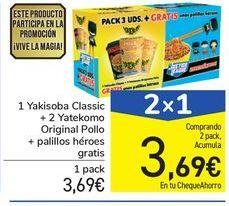 Oferta de 1 Yakisoba Classic + 2 Yatekomo Original Pollo + palillos héroes gratis por 3,69€
