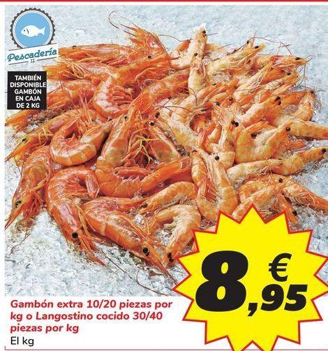Oferta de Gambón extra 10/20 piezas por kg o Langostino cocido 30/40 piezas por kg por 8,95€