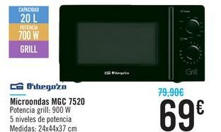 Oferta de Microondas MGC 7250 Orbegozo por 69鈧�