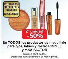 Oferta de En TODOS los productos de maquillaje para ojos, labios y rostros RIMMEL y Max Factor por