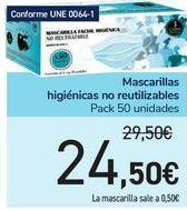 Oferta de Mascarillas higiénicas no reutilizables por 24,5€