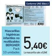Oferta de Mascarillas higiénicas infantiles no reutilizables BERGNER por 5,4€