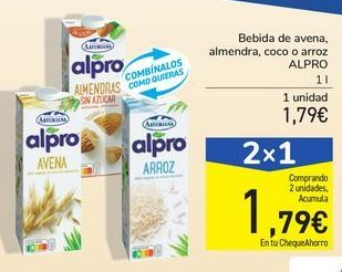 Oferta de Bebida de avena, almendra ,coco o arroz ALPRO por 1,79€