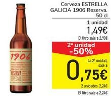 Oferta de Cerveza ESTRELLA GALICIA 1906 Reserva por 1,49€