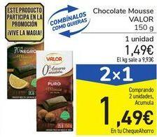 Oferta de Chocolate Mousse VALOR por 1,49€