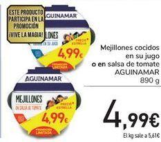 Oferta de Mejillones cocidos en su jugo o en salsa de tomate AGUINAMAR  por 4,99€