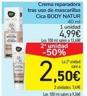 Oferta de Crema reparadora tras uso de mascarillas Cica BODY NATUR por 4,99€