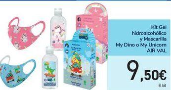 Oferta de Kit Gel hidroalcohólico y Mascarilla My Dino o My Unicorn AIR VAL por 9,5€