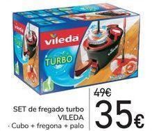 Oferta de SSET de fregado turbo VILEDA Cubo + Fregona + palo  por 35€