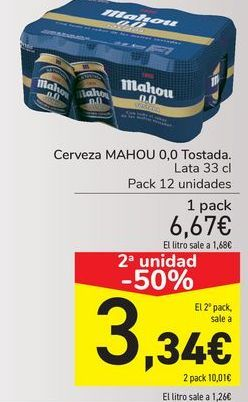 Oferta de Cerveza MAHOU 0,0 Tostada  por 6,67€