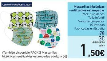 Oferta de Mascarillas higiénicas reutilizables estampadas  por 1,5€
