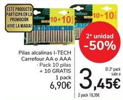 Oferta de Pilas alcalinas I-TECH Carrefour AA o AAA por 6,9€