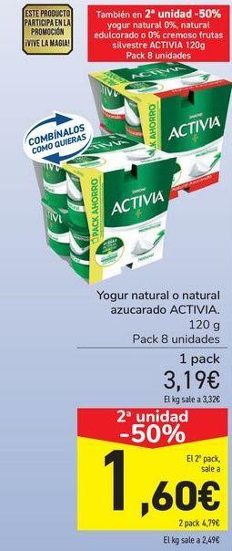 Oferta de Yogur natural o natural azucarado ACTIVIA por 3,19€