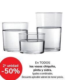 Oferta de En TODOS los vasos chiquito pinta y sidra, iguales o combinados  por