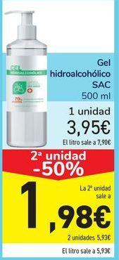 Oferta de Gel hidroalcohólico SAC por 3,95€