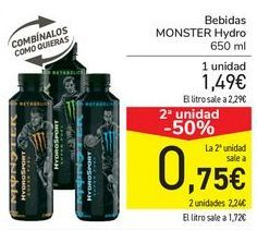 Oferta de Bebida MONSTER Hydro  por 1,49€