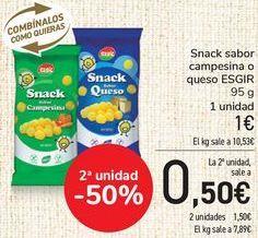 Oferta de Snack sabor campesinas o queso ESGIR  por 1€