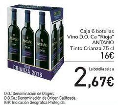 Oferta de Caja 6 botellas Vino D.O. Ca Rioja ANTAÑO Tinto Crianza  por 16€