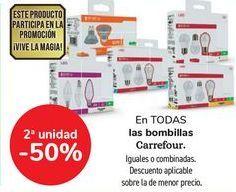Oferta de En TODAS las bombillas Carrefour, iguales o combinados  por