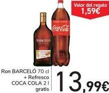 Oferta de Ron BARCELÓ + Refresco COCA COLA  por 13,99€