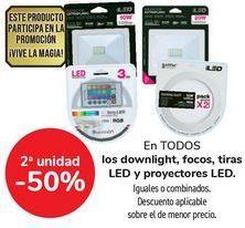 Oferta de En TODOS los downlight, focos, tiras LED y Proyectores LED, iguales o combinados por