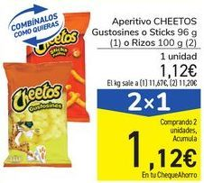 Oferta de Aperitivo CHEETOS Gustosines o Sticks o Rizos por 1,12€