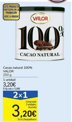 Oferta de Cacao natural 100% VALOR por 3,2€