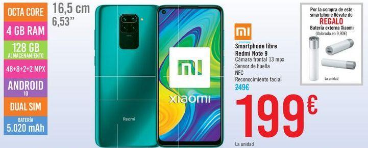 Oferta de Smartphone libre redmi Note 9 por 199鈧�