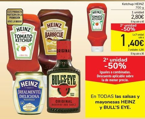 Oferta de En TODAS las salsas y mayonesas HEINZ y BULL'S EYE por
