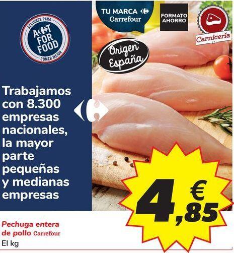 Oferta de Pechuga entera de pollo Carrefour por 4,85€