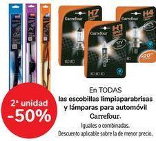 Oferta de En TODAS las escobillas limpiaparabrisas y lámparas para automóvil Carrefour  por