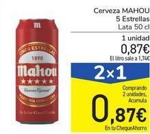 Oferta de Cerveza MAHOU 5 Estrellas  por 0,87€