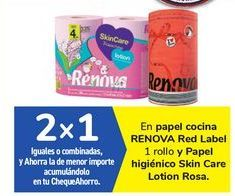Oferta de En papel cocina RENOVA Red Label y Papel higiénico Skin Care Lotion Rosa por