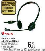 Oferta de Auricular con micrógono MS103 NGS  por 6,9€