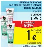 Oferta de Bálsamo de manos con alcohol adulto o infantil BODY NATUR por 1,99€