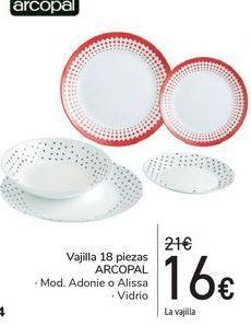Oferta de Vajilla 18 piezas ARCOPAL  por 16€