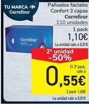 Oferta de Pañuelos faciales Confort 3 capas Carrefour  por 1,1€